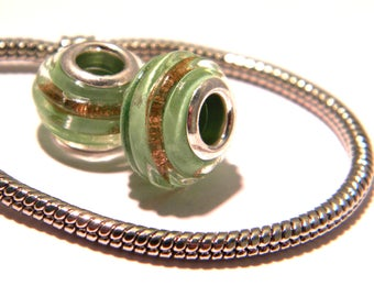 2 bead charm European glass Lampwork - Green striped-gold bead charm - European bead - 14.5 x 10 mm - C38
