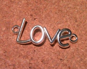 charm - pendant-connector-silver-message cut - LOVE-love - Angel-peace - PF85