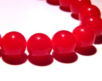 "10 glass 12 mm way ""jade"" beads - red - PG262"