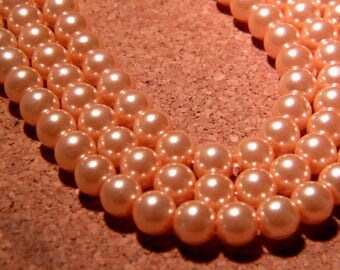 30 pearls Pearly iridescent glass 6 mm - pink salmon metallic PF128 7