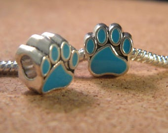 bead charm European - style 11 mm-dog paw pandor@-glazed - blue - C36