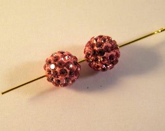 2 shamballa rhinestone 10 mm disco ball beads pink