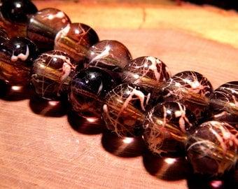 10 pearls glass translucent technology - 12 mm-black / orange PF154