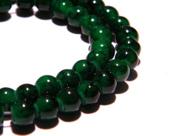 "100 glass beads ""reality"" - 6 mm green marble - PG97 way"