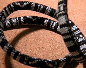 90 CM cotton cord ethnic 6 mm - black and white - CE 20