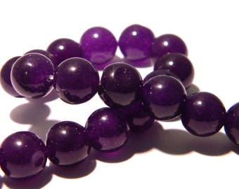 6 jade beads 10 mm - round bead - Gem Stone - Purple - F161 - translucent