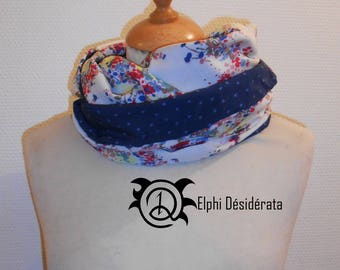 """Infinity scarf, double snood """"Floral graphic and Blue Star"""" round, tubular scarf woman model."""