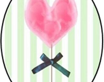 1 cabochon 25mm x 18mm theme glass Valentine heart