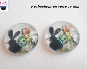 2 cat cottage themed 18mm domed glass cabochon