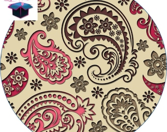 1 cabochon clear 25 mm Paisley theme