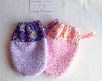 Washcloths girl pink and mauve, liberty Terry elastic size 3/6 years