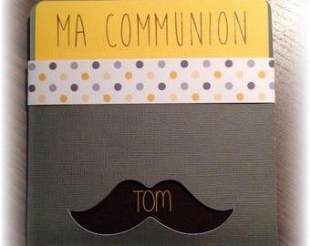 Baptism communion pouch - mustache Theme invitation
