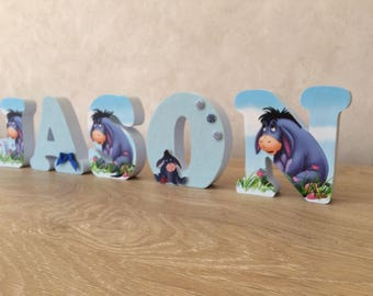 Name personalized wood - ask Eeyore from Winnie the Pooh - Jason theme wooden letters