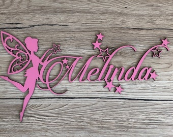 Name with fairy - Melinda - custom name wood - wooden - kids room - door plaque - wooden decoration letters