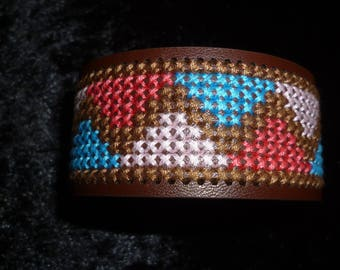 cross-stitched leather Cuff Bracelet