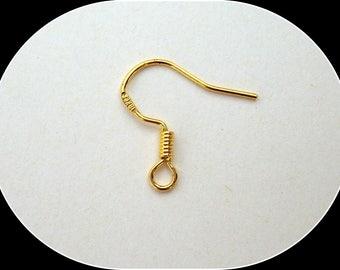 Hooks earrings plates marked 18 K Gold
