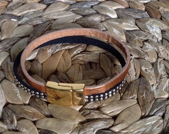 Leather studded gold and copper leather cord bracelet