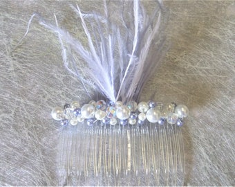 Hair comb wedding accessory bridal comb hair feathers and pearls blueish grey and white