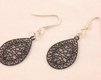 Drop earrings Silver 925, carved black