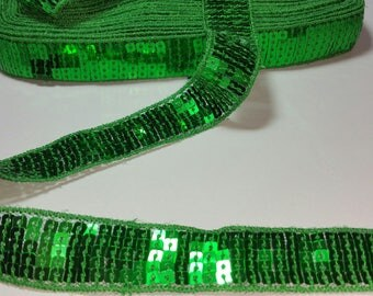 dark green color sequin trim