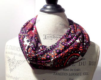 Infinity Scarf Bursting Medallions Sparkling Print Made with ITY Knit Stretch Fabric in Red and Purple