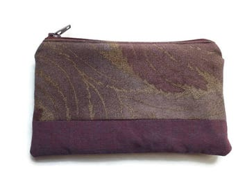 Small Multi Purpose Bag Taupe Japanese Fabric, Pencil Case, Coin Purse, Toiletries Pouch, Documents Holder, Fully Lined, Zippered