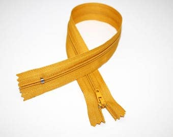 Zip closure, 30 cm, mustard yellow, not separable