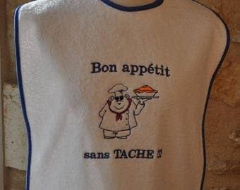 BIB ADULT TERRY BON APPETIT SPOTLESS WITH NAME