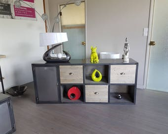 Bottom 3 drawers solid wood and steel industrial furniture