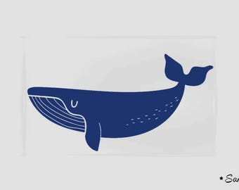 pattern Royal blue whale fusible