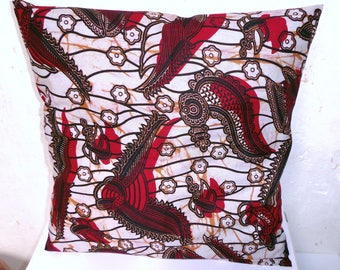 African Wax pillow cover 40 x 40 color Burgundy and white