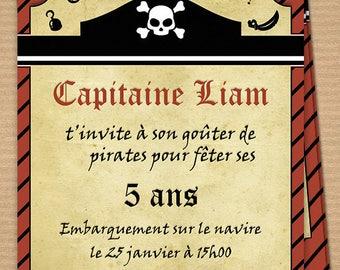 Personalized printable birthday invitation theme: Pirates!