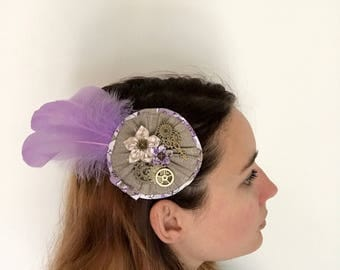 Hair clip rosette fabric and feathers