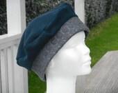 Bonnet chapeau béret  femme confortable unique hiver bleu marine polaire et tissus jersey épais gris