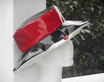 rain rain black and Red vinyl women Hat Cap