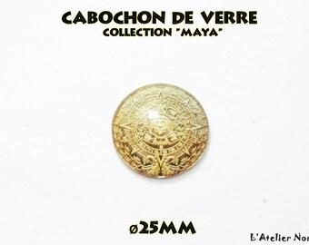 Glass cabochon illustrated ø25mm Collection Maya pattern 3