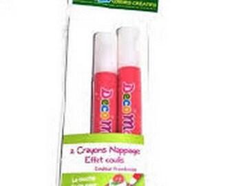 Set of 2 pencils glaze effect grout raspberry