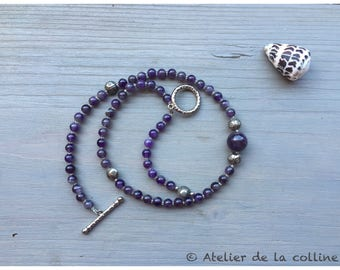 Amethyst necklace 'beetle' with charm beads and natural