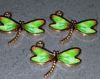 Dragonfly pendant charm enamel and gold 23 x 12 mm