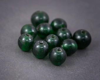 4 pcs beads • Indian, round, handmade Lampwork Glass spacer • green transparent 13mm