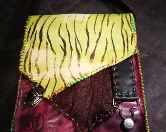 Purple and green Zebra leather bag