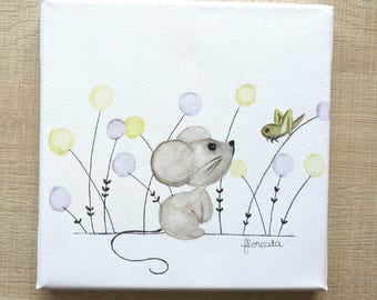 "Small canvas ""the little mouse and cricket"""