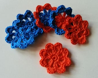 Crocheted cotton flowers blue and orange applique