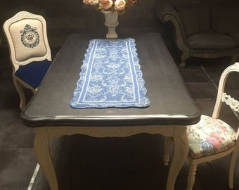 Table runner 45 x 130 Shabby Chic floral medallion blue cotton