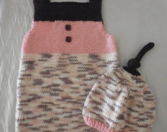 Shorts and hat 3 months hand knitted baby overalls