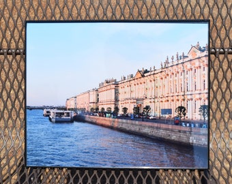 Neva River at Sunset, Russia photography, color photo
