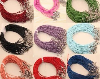 1 lot of 90 cord Clasp Necklaces silver 9 colors
