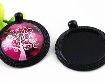 25 mm 1 Support black cabochon 25 mm pendant