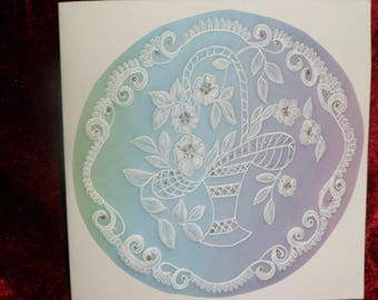 card any occasion in pergamano pattern basket of flowers