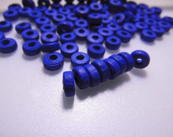 30 WOODEN 8MM BLUE DONUT BEADS